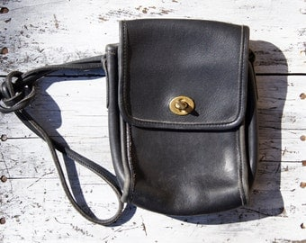 1980's Black Leather Coach Scooter Bag
