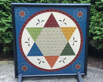 """19"""" x 19"""", Chinese Checkers, Game Board, Wood, Primitive, Wooden, Game Boards, Folk Art, Hand Painted"""