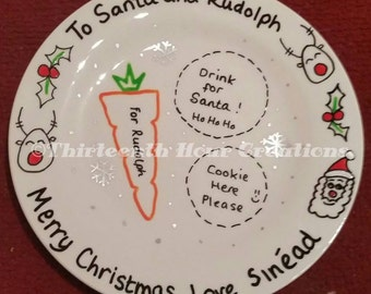 Christmas Eve Santa's Treats Plate - Personalised, custom, first christmas, magic, santa, rudolph, reindeer, snowman, angel, robin, festive