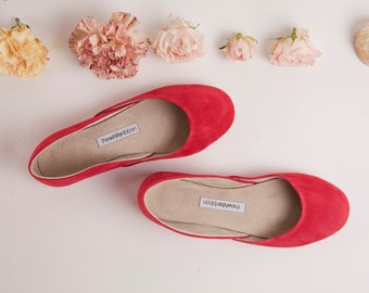Bright Red Handmade Nubuck Ballet Flats | Spring Rose Red Ballerinas | Summer Shoes | Bright Rose Red ... Made to Order
