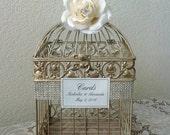 Bling Champagne Bird Cage-Wedding card holder