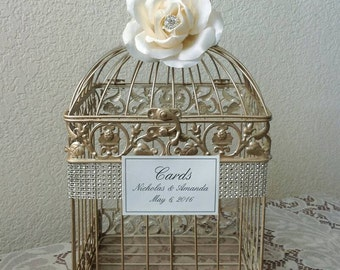 Bling Champagne Bird Cage-Wedding card holder