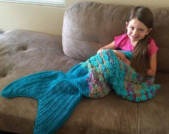 Mermaid Tail Blanket/ Mermaid Tail Afghan/ Mermaid Blanket/ Crochet Mermaid Tail Blanket/ Toddler to Adult Size- MADE TO ORDER