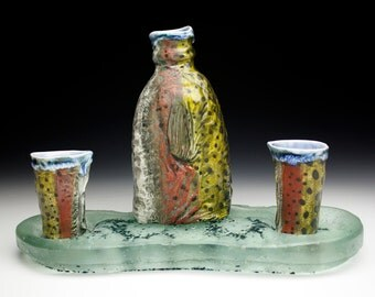 Full Sake Set with River Bottom Cast Glass Rainbow Trout Porcelain Tokkuri Sake (Nature as Objects) One of a Kind