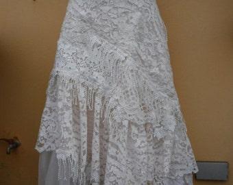 "20%OFF wedding bohemian boho gypsy lagenlook OAK shabby wrap skirt...40"" across plus ties."