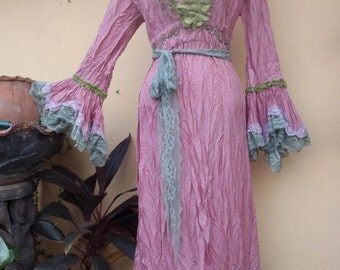 "20%OFF wedding bohemian boho gypsy lagenlook OAK silk maxi dress....smaller to 36"" bust..."