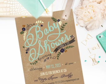 Floral Baby Shower Invitation - Boy or Girl - PRINTABLE or Printed Invitations