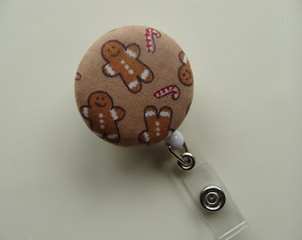 Retractable Badge Reel - Gingerbread Man with Candy Canes