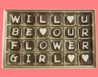Flower Girl Invitation Gifts Invites My Wedding Will You Be Our Flowergirl Asking Flower Girl Proposal Personalized Cubic Chocolate Letters