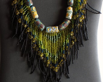 Beaded necklace, African Necklace, Native American Jewelry, Boho Necklace, Statement Necklace, Tribal Necklace