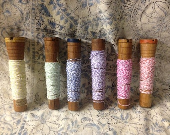 Vintage Wooden Yarn Spools ONLY 1 color available each with 10 yards of bakers twine ribbon on wooden spools