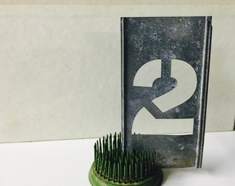 Vintage zinc Stencils number  2 home Decor Repurpose  nursery