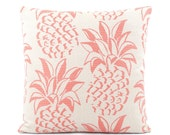 """Pineapple Pillow Cover 18x18"""" in Coral Pink with Diamond Pattern on Back, Beach Pillow, Tropical Throw Pillow, Hawaiian, Pineapple Grove"""