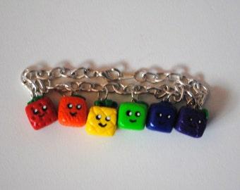 Fruit Cube Polymer Clay Charm Bracelet