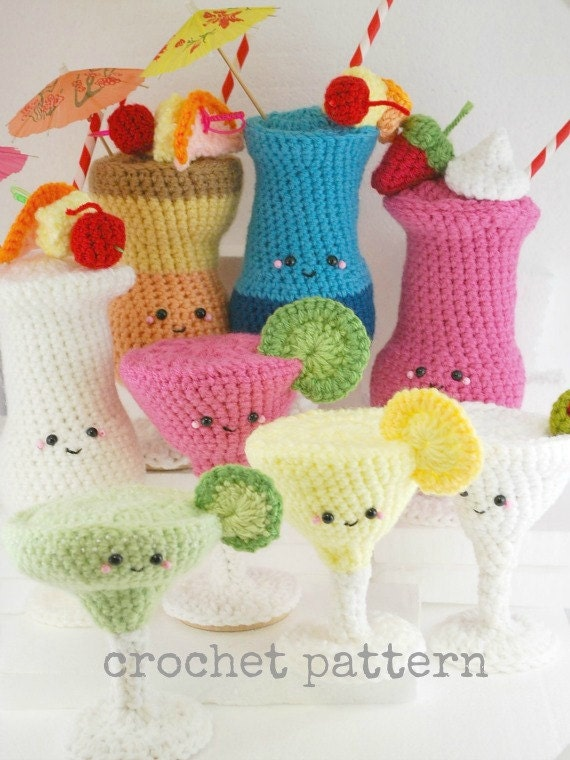 CROCHET PATTERN- 8 Amigurumi Crochet Cocktails