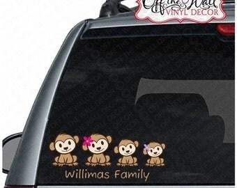 Monkey Family Stick Figure Car Decal Sticker