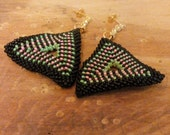Stud Post Earrings Triangle Wedding Earrings - Bridal Black Green Pink 16k gold plated.  Valentine's day