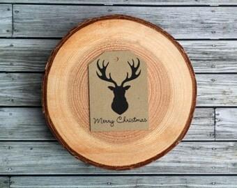 Reindeer Antler Silhouette Merry Christmas Rustic Gift Tags