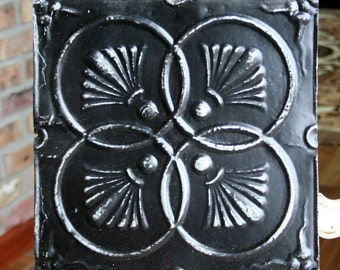 "12"" Antique Tin Ceiling Tile -- Distressed Black Paint -- Pretty Interlocking Cirles Design"