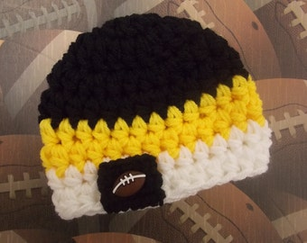 Pittsburgh Steelers inspired baby hat - team sports - sports props - photo prop - made to order