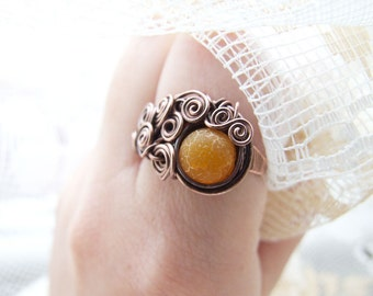 Agate Ring, Yellow Gemstone Ring, Agate Jewelry, Rustic Copper Agate Ring