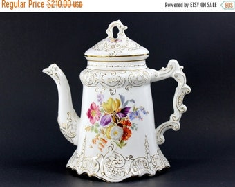 Antique Tea Pot, 1900's, Wheeling Pottery, Porcelain Floral, Chocolate Coffee Pot 12625