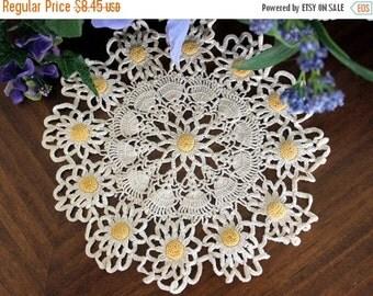 Vintage Doily, Crochet Doilies, Handmade Knit or Crocheted Daisy Doily, Vintage Table Linens 13396