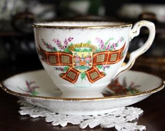 Royal Stafford, Tartan Series Cameron, Footed Bone China Teacup, Tea Cup and Saucer 13644