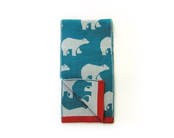Scarf for kids · 100% Merino Wool · Blue and light blue with red ribbon· Polar bears · Gift for kids