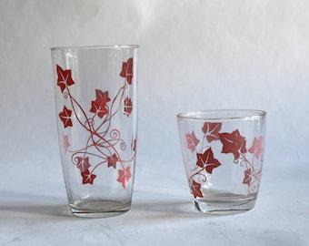 Two Vintage Pink Vine Glasses