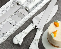 Personalized Fairy Tale Theme Wedding Cake Knife and Server Serving Set with Engraving Fairytale Cinderella Glass Slipper Shoe
