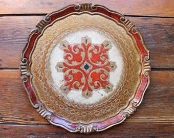 Vintage Decor... Vintage Red and Gold Round Florentine Tray, Home Decor, Italian