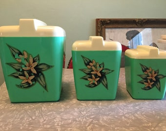 Vintage Burroughs Burrite - 3 Green Plastic Canisters