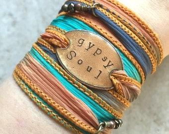GYPSY SOUL Boho Silk Wrap Bracelet- Silk Ribbon Bracelet- Wrap bracelet- gypsy bracelet- BOHO, bohemian, boho jewelry, gypsy soul bracelet