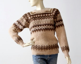 vintage 70s fair isle sweater, nordic ski sweater