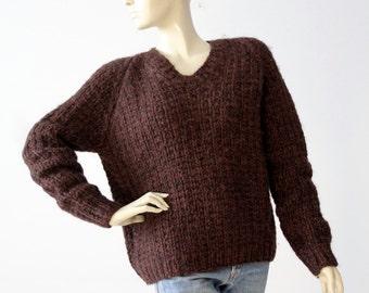 vintage brown chunky knit sweater, v-neck pullover jumper