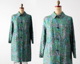 SALE vintage 60s floral raincoat, reversible jacket