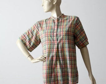 SALE vintage 60s henley, checker plaid short sleeve cotton shirt