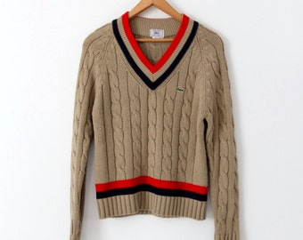 vintage 70s Izod LaCoste sweater, cable knit v-neck sweater