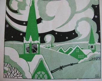 Original 1946 Children's Book illustrations & Poems, Tennyson's Ring Out Wild Bells Christmas/Winter print, poem to frame decoupage Art Deco