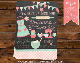 Baking Fun - A Baking Birthday Party Invitation - Coral and Mint - Chalkboard Invitation - Cupcake Party - Bake Party - Baking Party