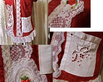 Shabby Red Blouse, white lace doily lace embellished, cottage shabby n chic romantic, refashioned clothing, red white top, womens LARGE