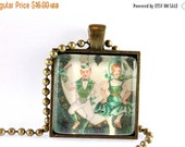ON SALE St. Patrick's Day Pendant on Chain, Vintage Style Image