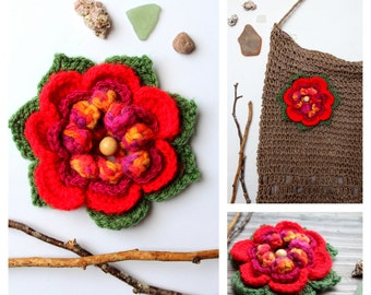 Flower crochet 4 colours to decorate your bag