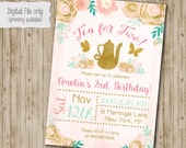 Tea for two Birthday Invitation // Floral Birthday Invite // Girl Birthday Invite // Tea party Birthday // Watercolor Floral