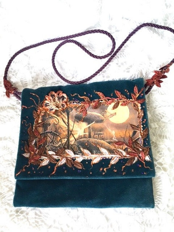 Blue Velvet Boho Shoulder Bag*Evening Bag*Woodland Fairy Handbag*Velvet Handbag* Art Bag