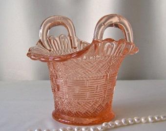 Vintage Pink Glass Basket Depression Glass Basket Weave Flower Basket Gift For Mom 1940s