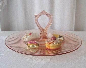 Vintage Pink Depression Glass Dessert Serving Dish Glass Plate Loop Handle Entertaining 1940s