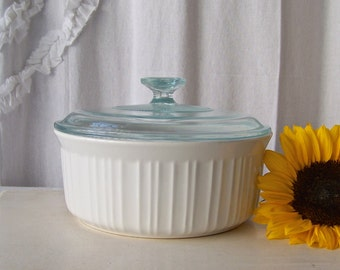 Vintage Corning Ware French White Casserole Dish Covered Classic White Round CorningWare Vintage 1980s