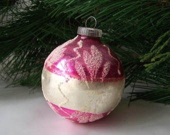 Vintage Pink & Silver Christmas Ornament Glass Ball West Germany Ornament Christmas Tree Holiday Ornament Vintage 1960s